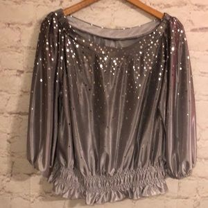 EXPRESS SEXY SHINY SILVER TOP*PERFECT FOR HOLIDAYS